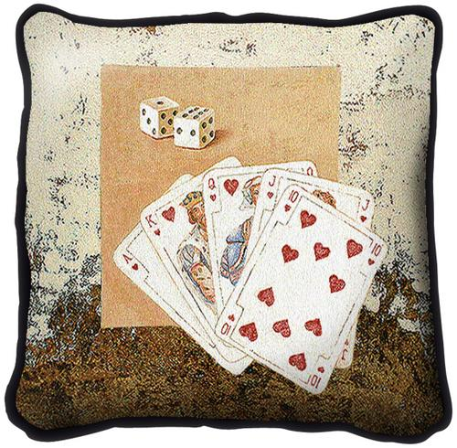 Playing Cards & Dice Contemporary Tapestry Cushion, 17in x 17in