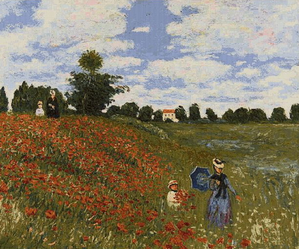 Poppies By Monet Small Tapestry Wall Hanging, H20in x W28in