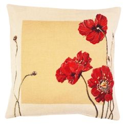 Poppy Tapestry Cushion Cover - European Home Decor Collection, 18in x 18in cushion cover