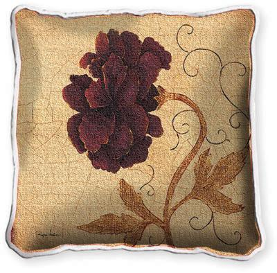 Poppy Fresco Floral Tapestry Cushion - Botanical Design, 17in x 17in