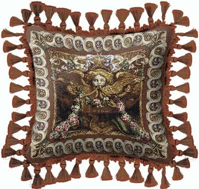 Portieve du Char Ornamental Tapestry Cushion - Old World Styled, 27in x 27in