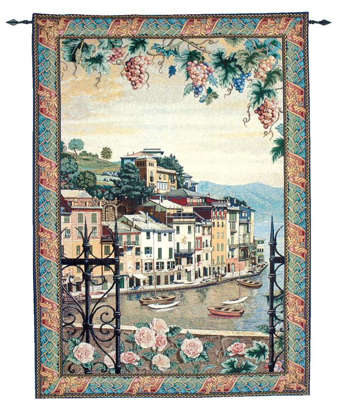 Portofino Tapestry Wall Hanging - Harbour View, 56in X 80in