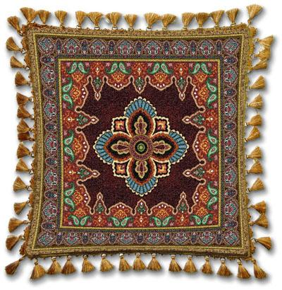 Prema Ornamental Tapestry Cushion - Asian Style, 24in x 24in