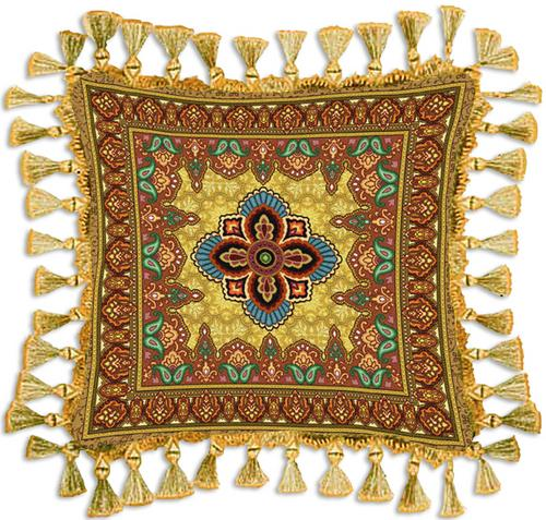 Prema Gold Ornamental Tapestry Cushion - Asian Style, 24in x 24in
