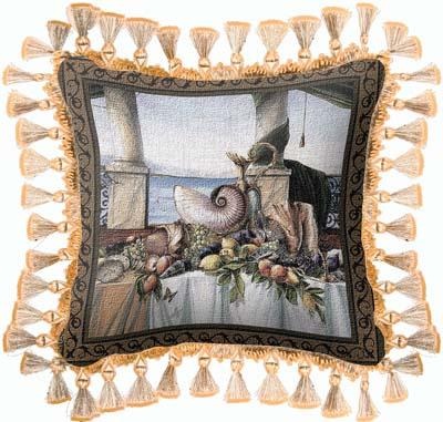Promessa d'Estate Abstract Compositpion Tapestry Cushion - Still Life With Shells, 27in x 27in