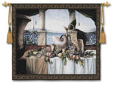Promessa d'Estate Sea View Wall Tapestry - Still Life With Shells & Fruits, 53in x 40in