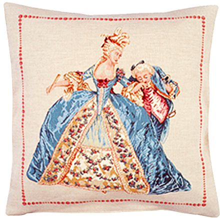 Quadrille Tapestry Cushion Cover - Classic Home Decor Collection, 18in x 18in cushion cover