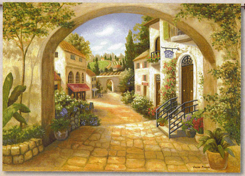 Quaint Town Countryside View Tapestry Wall Hanging, 70in X 50in