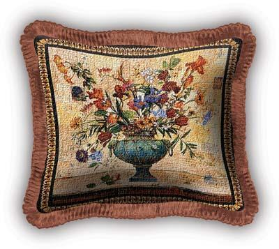 Radiance Floral Tapestry Cushion - Flowers In Vase Picture, 17in x 17in