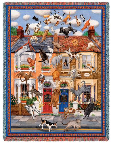 Raining Cats & Dogs Tapestry Throw, 54in x 70in