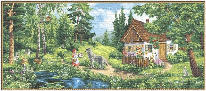 Red Hat Tailes Kids Decor Tapestry, H27.2in x W68in