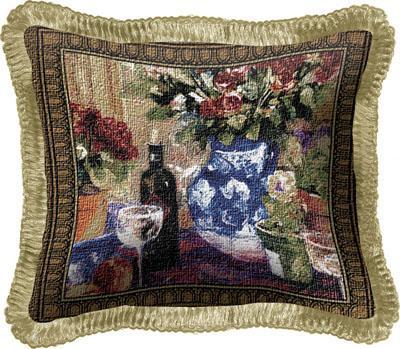 Red Roses with Wine Still Life Tapestry Cushion - Flowers & Wine Picture, 17in x 17in