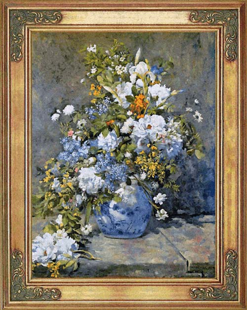 Floral Tapesty Wall Hanging Spring Bouquet From A Painting By Renoir, 37in X 29in