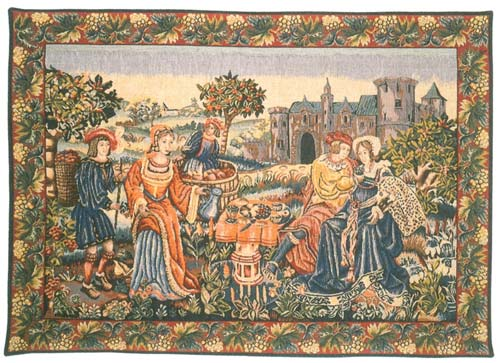 Repas De Vendanges Medieval Tapestry Wall Hanging - The Resting Noble, 26in X 40in