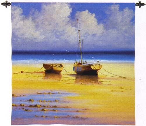 Restful Moorings Nautical Wall Tapestry - Boats Picture, 35in x 35in