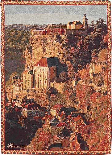 Rocamadour City Picture Tapestry Wall Hanging, 19in X 13in