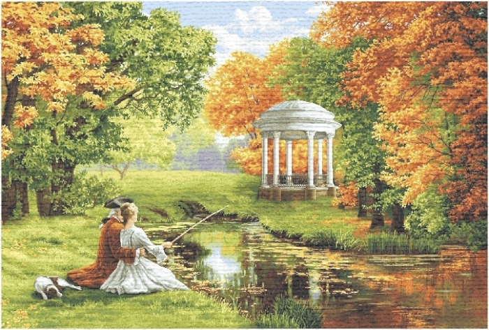 Romantic Couple Fishing By The Lake Near The Gazebo Tapestry Wall Hanging, H28in x W44in