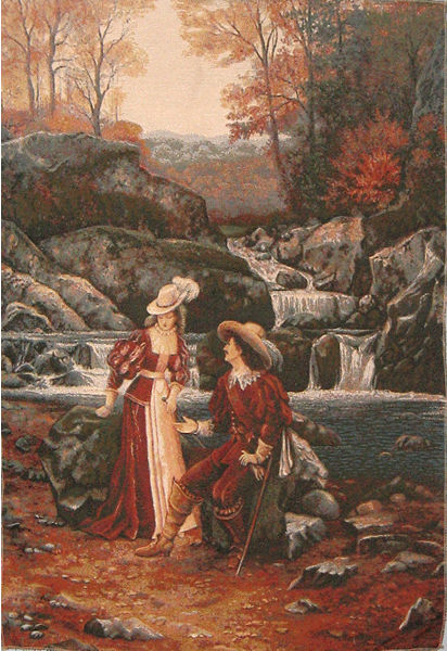 Romantic Dating Tapestry Wall Hanging - Gallant Scene, 30in X 44in