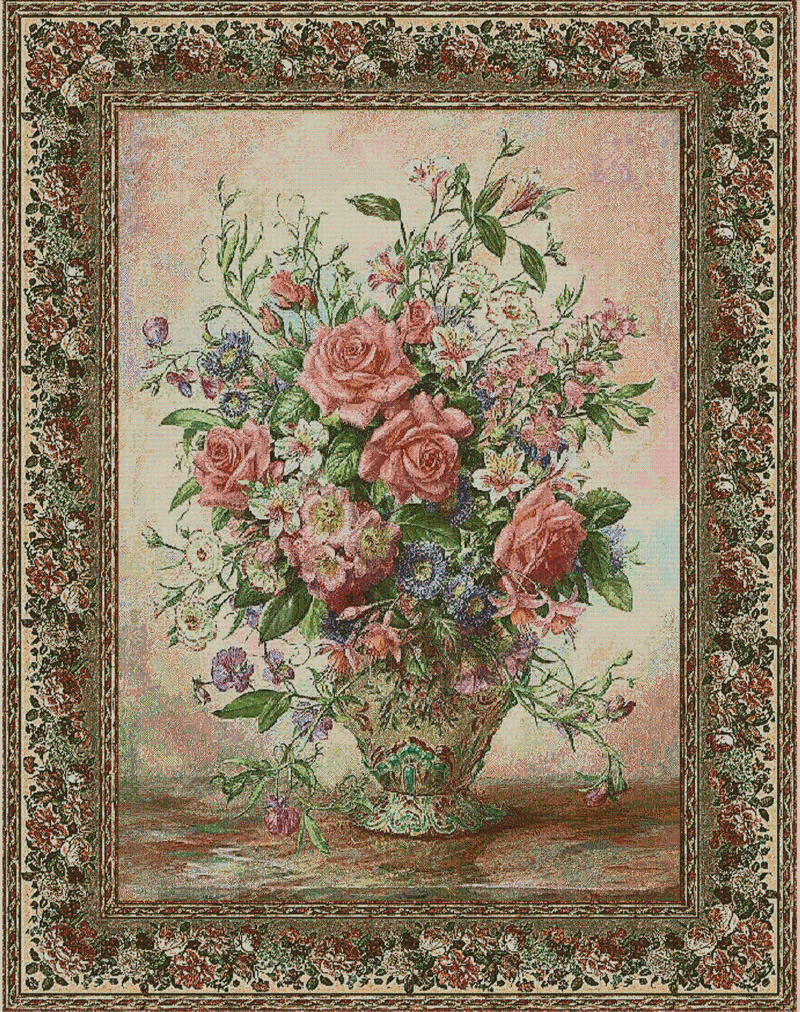 Bouquet of Roses II Tapestry Wall Hanging, H56inx W40in