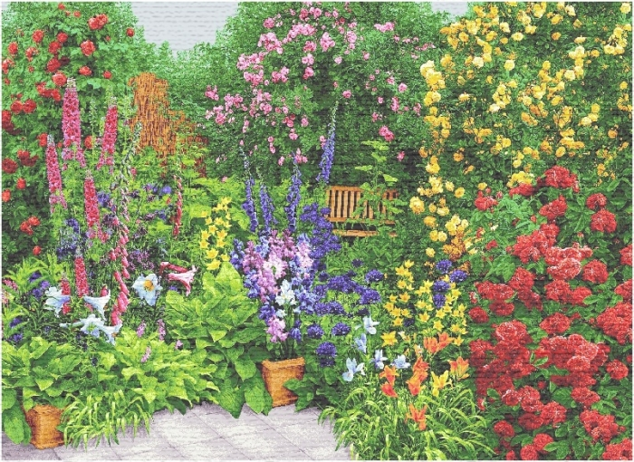 Rose Garden III Tapestry Wall Hanging, H56in x W82.8in