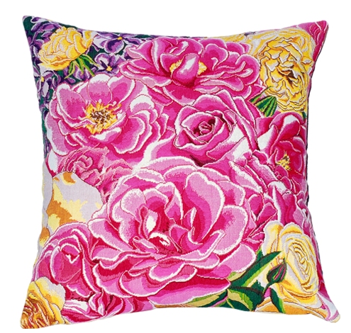 Roseraie Tapestry Cushion Cover - European Home Decor Collection, 18in x 18in cushion cover
