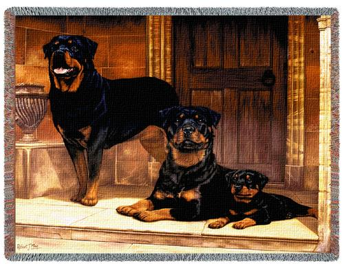 Rottweiler Tapestry Throw, 70in x 53in