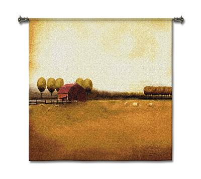 Rural Landscape Countryside Wall Tapestry, 45in x 45in