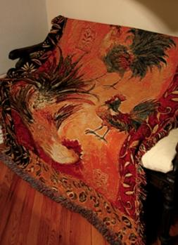Safari Rooster Tapesty Throw, 51in x 68in