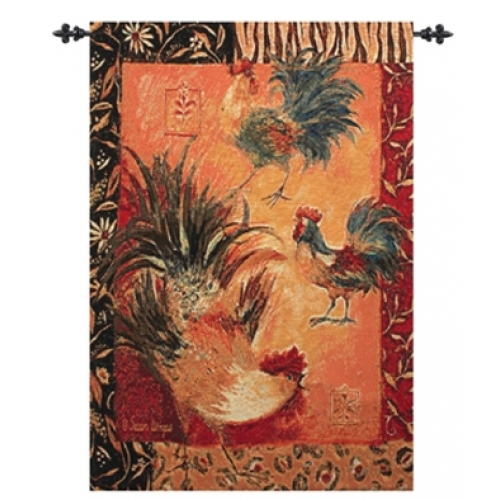 Safari Rooster Tapesty Wall Hanging, 26in x 36in