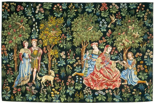 Scenes Gallantes Medieval Wall Tapestry - The Noble Picture, 36in X 52in