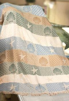 Seashells by the Seashore Tapesty Throw, 46in x 60in