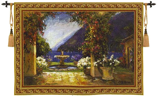 Seaside Fountain Wall Tapestry - Archway View, 80in x 53in