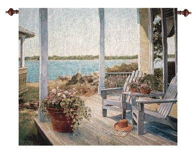 Shades of Summer II Waterfront Terrace Tapestry Wall Hanging, 42in x 35in