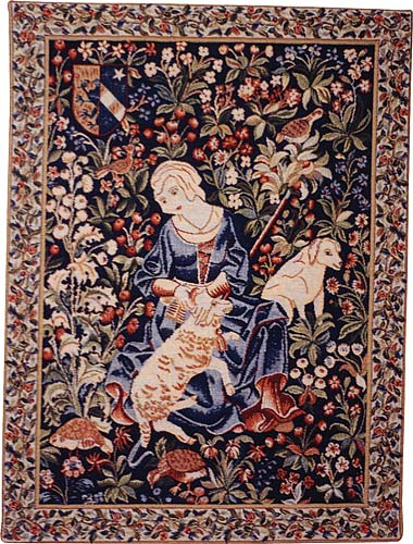 Shearing Medieval Tapestry Wall Hanging, 24in X 19in