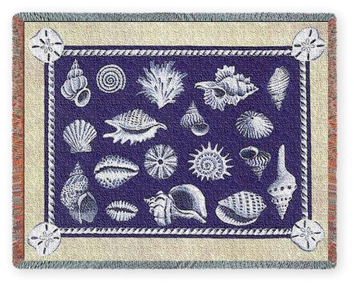 Shell Collection Tapestry Throw, 53in x 70in