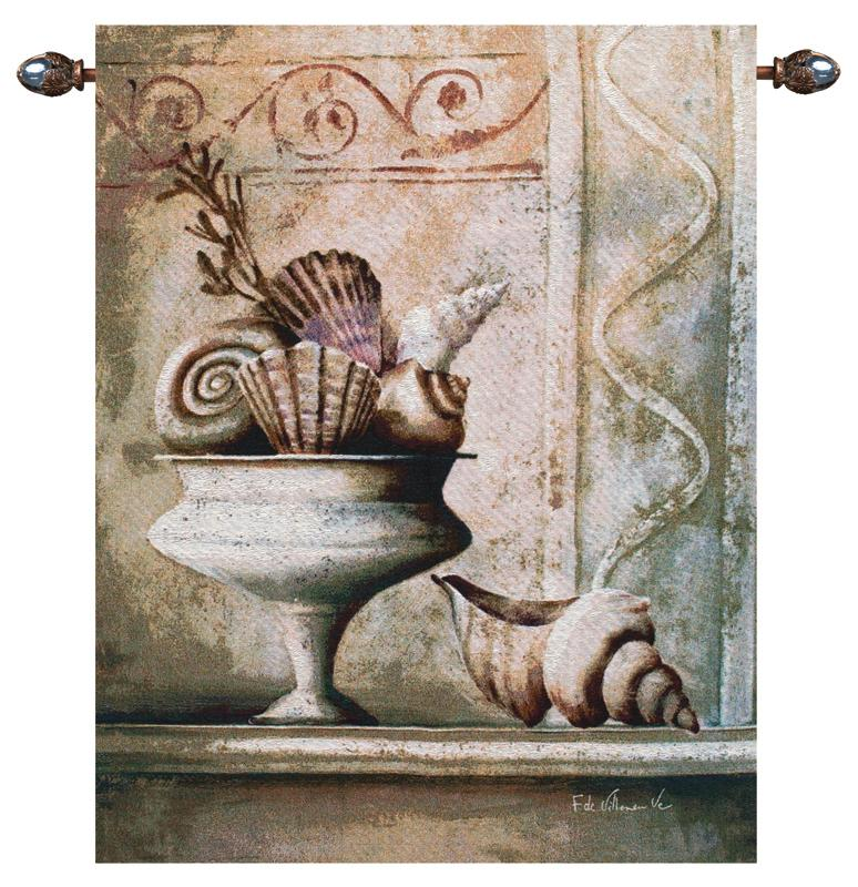 Shells In Vase Still Life Tapestry Wall Hanging, 35in X 42in