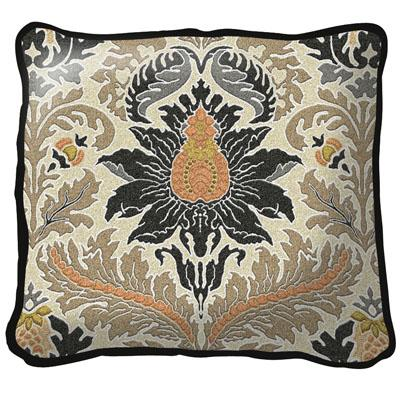 Silk Road Old World Tapestry Cushion - Floral Ornament, 17in x 17in