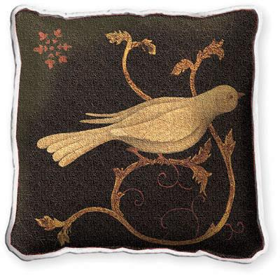Snowbird Fresco Asian Tapestry Cushion - Bird Picture, 17in x 17in