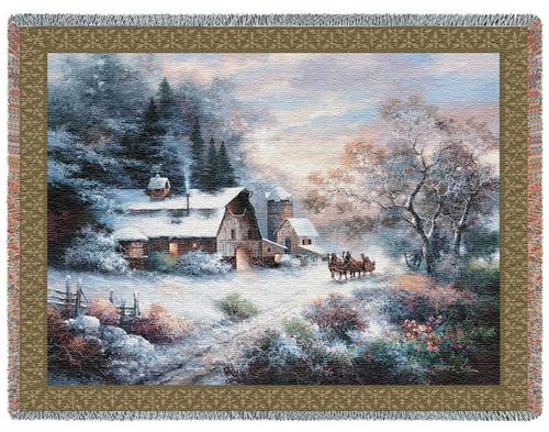 Snowy Evening Tapestry Throw, 53in x 70in
