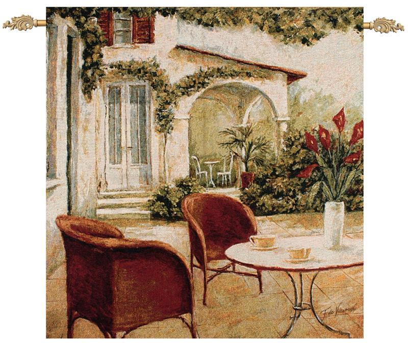 South Terrace Street Cafe Wall Tapestry Fabrice De Villeneuve, 35in X 35in