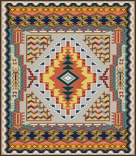 Southwest Turquoise Tapestry Wall Hanging, 41in x 53in