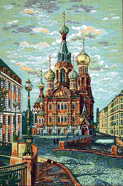Religious Wall Tapestry: Russian Orthodox Church Picture - Church Of The Saviour-On-The-Spilt-Blood, 18.4in X 26.4in