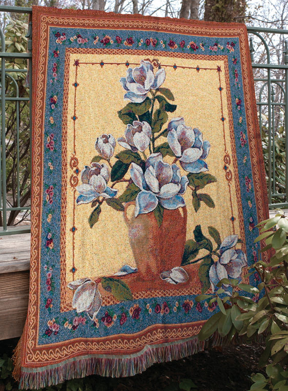 Spring Magnolias Floral Tapestry Throw - Flowers In A Vase, 50in X 60in
