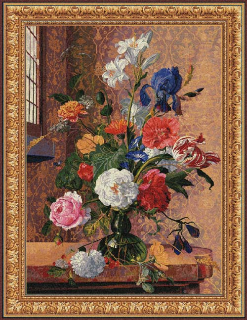 Floral Tapesty Wall Hanging Summer Flowers, 42in X 32in