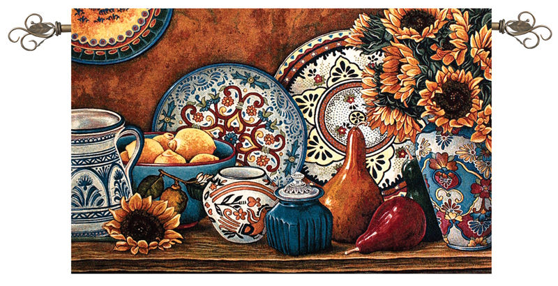 Summer Glow Still Life Tapestry Wall Hanging, 53in X 35in