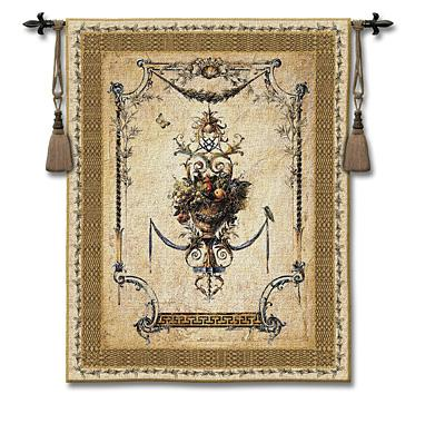 Summer Harvest Small Wool/Cotton Tapestry Wall Hanging - Floral Composition, 53in x 69in