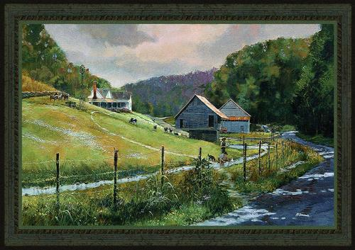 Summer Memories Tapestry Wall Hanging - Country Scene, 26in x 44in