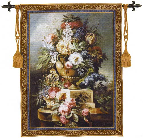 Summer Of Peace Floral Tapestry - Flowers In Vase Picture, 53in x 76in