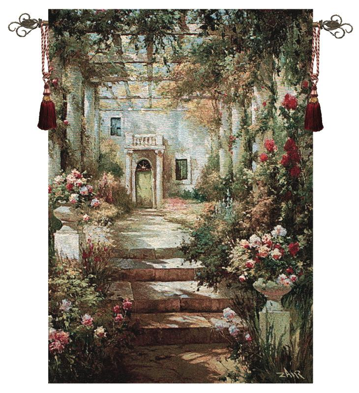 Summer Pergola Garden Tapestry Wall Hanging, 35in X 47in