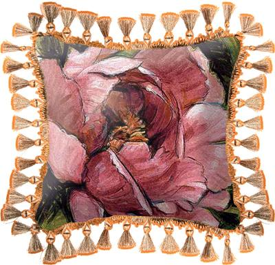 Summer's Bounty Floral Tapestry Cushion - Botanical Design, 16in x 16in